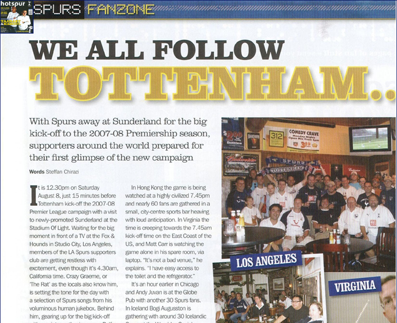 L.A. Spurs featured in October 2007 Hotspur Magazine